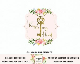 jewelry logo design key logo realtor logo key necklace gold foil logo realty logo vintage key logo photography logo premade key logo design