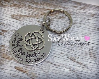Hand Stamped Wedding Anniversary Celtic Knot Key Chain Tied The Knot