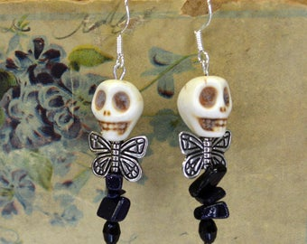 Dead Fairy White Skull Stone Skull Bead Subtle Sparkly Beaded Stacked Stone Earrings