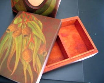 TISSUE BOX Cover and Card or TRINKET Box Decoupage Original Signed Artwork on Wood Set