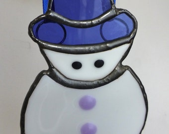 Christmas Snowman with purple hat - stained glass and fused glass festive ornament
