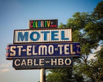 Austin Texas Wall Art   St. Elmo Motel Sign   Mid Century Wall Art   Neon Sign Art   Austin TX   Neon Sign   Retro Wall Art  