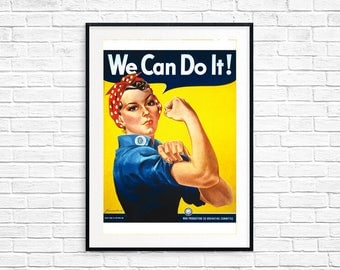 We Can Do It! Rosie The Riveter Retro A4 Print Poster