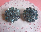 Vintage Blue Rhinestone Weiss Clip on Earrings, Blue Ice, Bridal Accessory, Mother of the Bride,  Gifts for Her