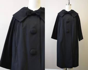 1950s Queen Modes Black Wool Coat