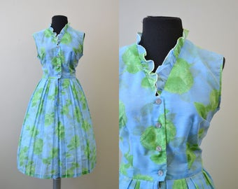 1960s Ruffled Blue and Green Floral Dress