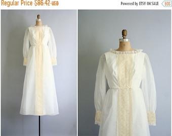 3 DAY SALE vintage 60s dotted swiss Juliet wedding dress - romantic bridal maxi dress / Emma Domb - vintage 60s mod dress / 1960s ivory prom