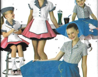 Simplicity 3836 Childs Girls 50's Diner Poodle Skirt Car Hop Costume Sewing Pattern UNCUT Size 7, 8, 10, 12, 14