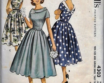 Vintage 1950s McCall's 4303 Evening Dress Sewing Pattern Size 11 Bust 31.5 Full Skirt Rockabilly
