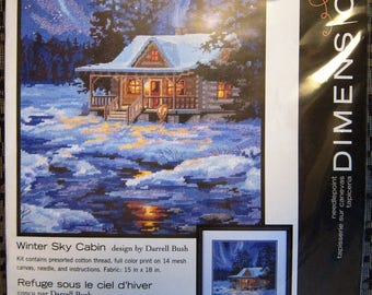 Needlepoint Kit Dimensions Aurora Winter Sky Cabin Snowy Forest #71-20072