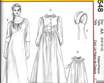 McCall's M4548 Dress Apron Bonnet Chemise Pattern Early American Pioneer Pilgrim Costume Historic Reenactment Size 6, 8, 10, 12