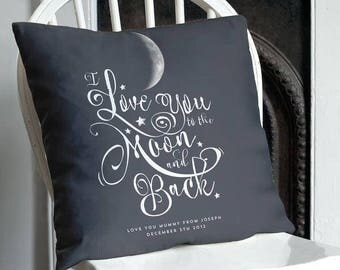 Personalised Cushion 'I love you to the Moon & Back' Moon Phase Gift, Gift from Child, Nursery Gift, New Baby Gift, Home Decor, Mothers Day