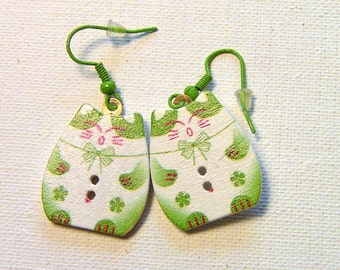 Earrings, Cat Earrings, Green Cat Earrings, Wooden Dangle Earrings,