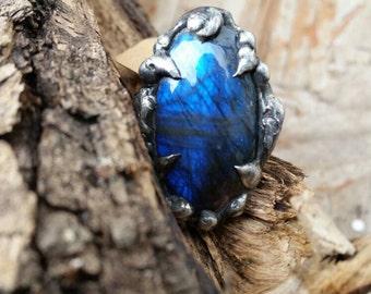 Silver Ring- Labradorite- healing crystals - statement ring- boho- goth