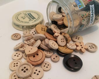 Button Jar Craft Buttons Glass Baby Food Jar Wood Natural Flower Heart Apple Cinnamon Granola Sewing Collection