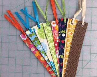 Lot of 8 Fabric Bookmarks Flowers Floral Geometric Blue Green Pink Yellow Garden