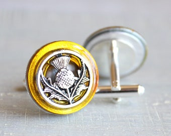 yellow Scottish thistle cufflinks, Scottish cufflinks, wedding jewelry, best man, mens jewelry, fiance gift, groom cufflinks, unique gift