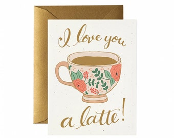 Latte Pun - I Love You A Latte Valentine - Hand lettered, Hand illustrated - Greeting Card - Coffee, Tea, Latte