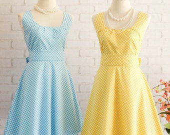 Yellow Dress Blue Dress Yellow Blue Plaid Dress Yellow Bridesmaid Dress Blue Bridesmaid Dresses Blue Party Dress Yellow Party Dress Plaid