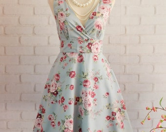Blue dress V neck dress floral dress Blue party dress floral sundress Blue bridesmaid dresses floral bridesmaid dresses Blue sundress