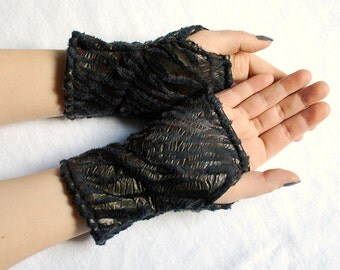 Fingerless Gloves Zebra Monster - black fake fur mittens