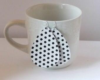 Black White Polka Dot Leather Teardrop Drop Earrings