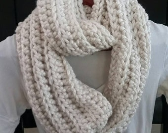Infinity Scarf Cowl Neckwarmer  cream knit crochet READY TO SHIP