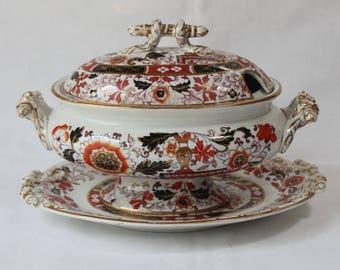 Small Antique Ironstone Sauce Tureen with Under Plate.