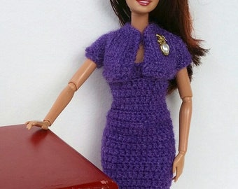 2-piece Barbie Outfit; dress and bolero. Frosted Grape (purple) Color. Brooch. Knitted Bolero; Crocheted Dress. Form Fitting Short Dress.