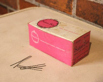 Vintage 60s Retro Pin-Up SALON Set Bronze Ball Tipped Crimped Bobby HAIR Pins Full Box