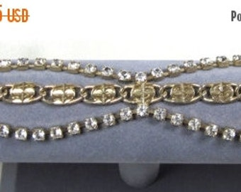 Sale Pre Holliday MUST SEE Clear Rhinestone Gold Tone Bracelet Lots of Sparkle