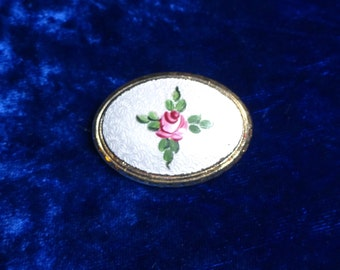 Vintage Enamel Guilloche Hand-painted Floral Design Brooch pin