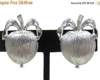 "ON SALE Vintage Sarah Coventry ""Adams Delight"" Silver Tone Apple Earrings"