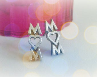 Mom Sterling Silver Studs - Mom Word Earrings - Mother's Day Gift - Mom Heart Studs - Modern Mom Jewelry - Multiple Piercing - Love Mom Stud