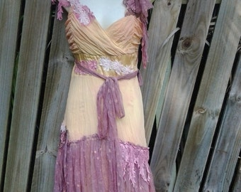 """20%OFF vintage bohemian gypsy formal wedding yellow & pale pink stained chiffon slip dress,,small to 34"""" bust..."""