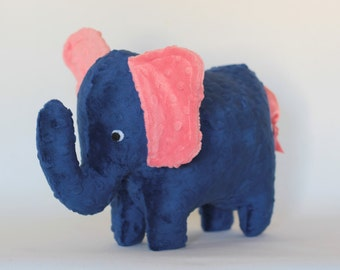 Stuffed Elephant Toy - Navy Blue and Coral Pink Minky Plush Elephant - Elephant Toy - Nursery Decor - Baby Christmas Gift - Kids Christmas