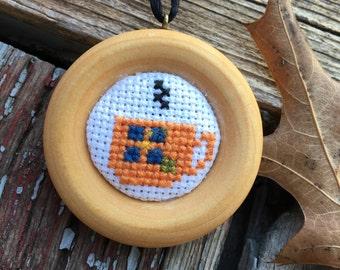 Orange Teacup Cross-Stitch Pendant