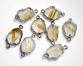 Natural Gold Rutilated Quartz Free Form Connector, Sterling Silver Dipped Stone Slice, 18x9mm