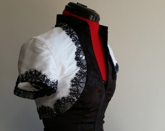 Taffeta and Lace Alternative Bridal Bolero Size 10
