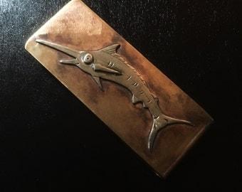 Blue Marlin Money Clip      hjand made  deep sea ocean sport fishing money clip