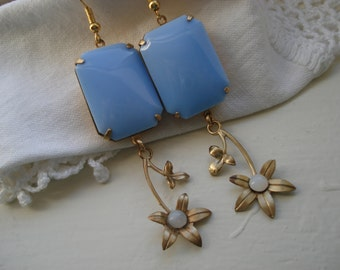 Vintage Art Deco Light Baby Powder Blue Milk Glass Gold Earrings Flower Opal Dangles