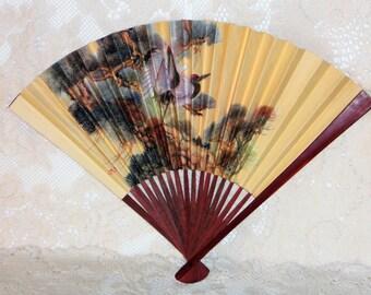 Wooden Paper Folding Hand Fan Birds Trees Vintage