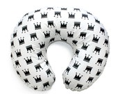 Nursing  pillow cover BLACK CROWNS - black and white nursery pillow cover - breastfeeding pillow cover - black and white baby bedding