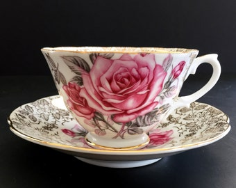 Grantcrest Footed Teacup and Saucer, Pink Roses on Chintz, Bone China Tea Cup, Made in Japan 13869