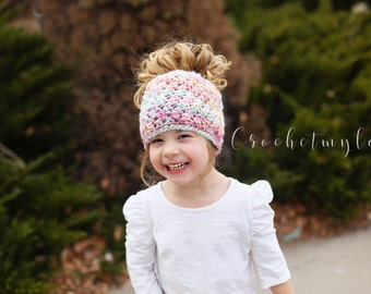 Messy bun beanie, Messy bun hat, Pony tail beanie, Choose your own color, hair beanies, toddler girl hats, women hats, christmas gifts