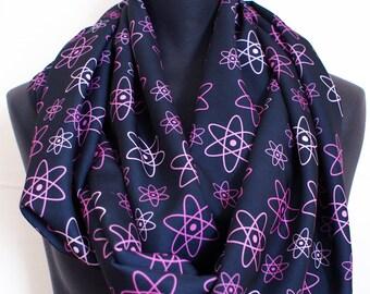 Chemistry Pink Atomic Orbits - Nerd Geek Science Silky Infinity Scarf