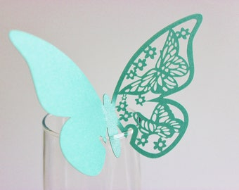 Teal Butterfly Laser Cut Place Card Glass Decor 10, 20 or 50 / Wine Glass Decor / Wedding / Anniversary / Birthday / Shower