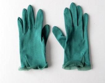 1950s mesh gloves, teal green wrist length gloves