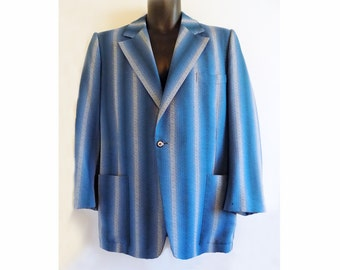 1940s Lindy Hop Blue Striped Jacket / Sports Coat with Wild lining / Stage/ Screeen / TV / Film / Costume