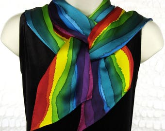 Rainbow Stripe Hand Dyed Long Skinny Silk Scarf